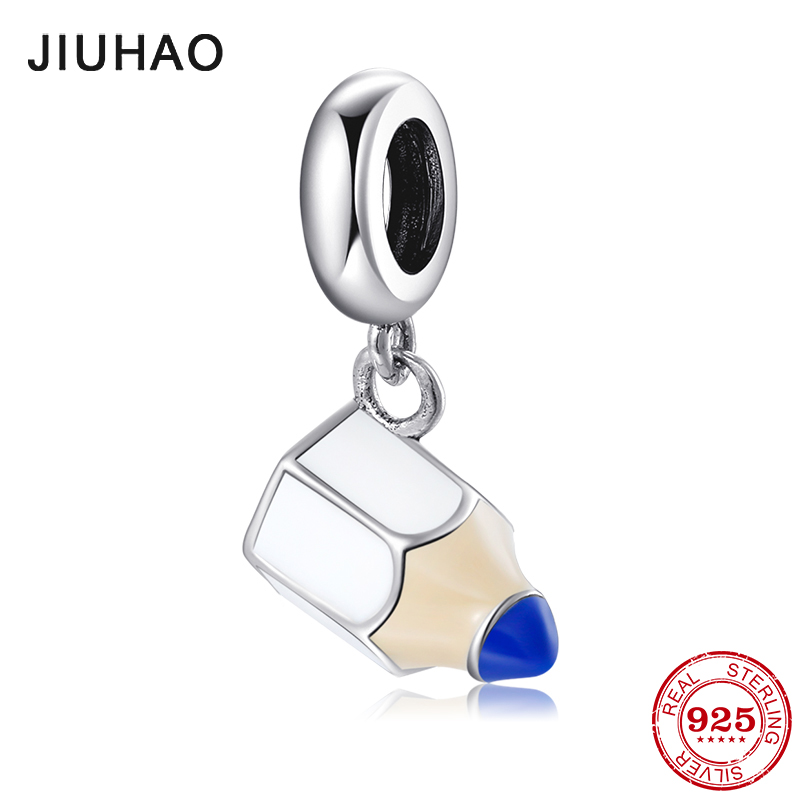 2019 New 925 Sterling Silver Fashion Small Pencil Pendants Beads For Jewelry Fit Original Pandora Charms Bracelets Making