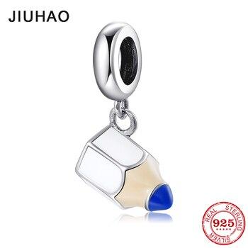 2019 nowy 925 Sterling Silver Fashion mały ołówek zawieszki koraliki do biżuterii Fit oryginalny projektant Charms bransoletki making