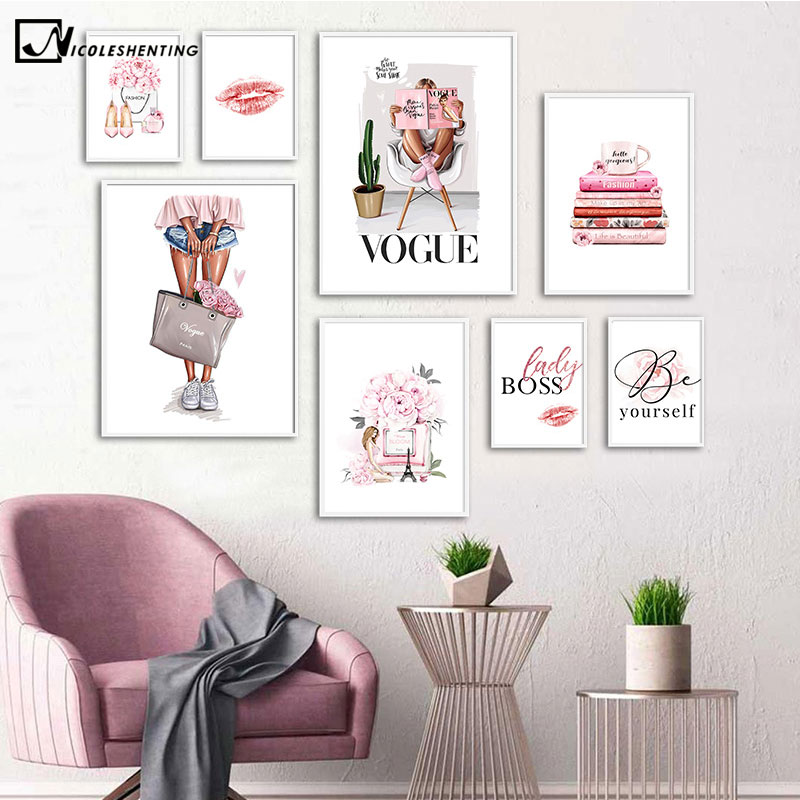 Fashion Wall Art Canvas Painting Paris Vogue Girl Poster and Print Simplicity Perfume Bag Lips Picture Modern Home Decoration