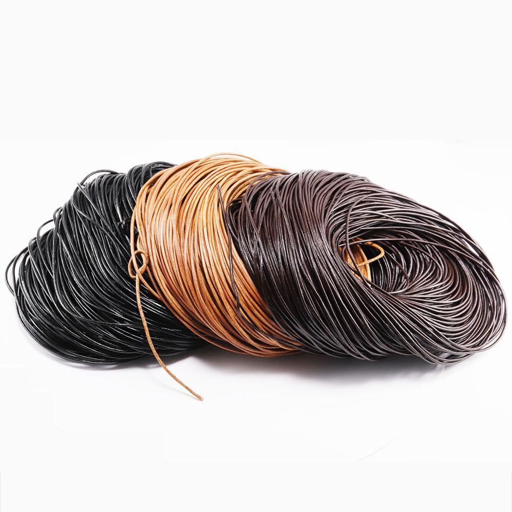 2-5 m/grup 3 renk hakiki inek deri yuvarlak tanga kordon deri kordon dize halat DIY kolye bilezik için DIY takı yapımı