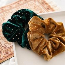 Рождественские золотые бархатные резинки для волос, прочные резинки для волос для девочек, резинки для конского хвоста, зеленая резинка для волос, аксессуары для волос