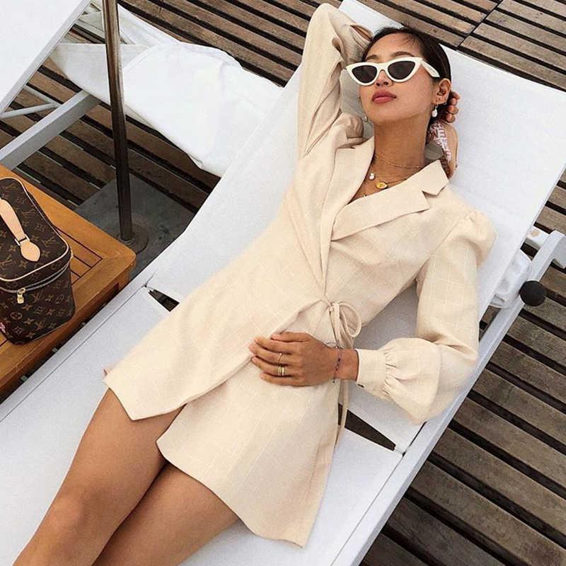 Femajor 2019 осенне-зимнее Короткое платье женское модное клетчатый шарф на шнуровке с длинными рукавами мини-платье женское деловое шикарное платье