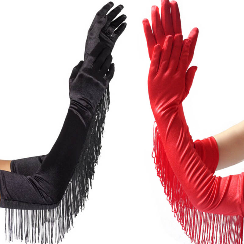 Fashion Black White Red Tassels Long Satin Gloves Women Opera Evening Party Costume Gloves Dance Performance Mittens