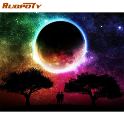 RUOPOTY Frame Picture DIY Painting By Numbers Kits Moon Sky Coloring Modern Wall Art Picture For Living Room Home Decors 60x75cm