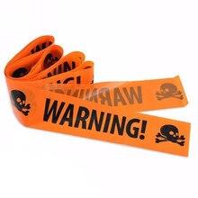 6mX7.5cm Party DIY Decorations Halloween Decoration PE Orange Warning Tape Outdoor Scary Caution