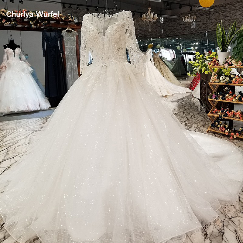 LS84440 Long Sleeve Wedding Dress With Beadings And Sequins O-neck Organza Bridal Wedding Gown 2018 With Long Train As Photos