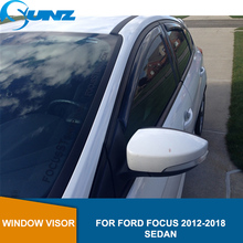 Window Visor Deflector For FORD FOCUS 2012 2013 2014 2015 2016 2017 2018 Sedan ABS Black Car Wind Shield Rain Guards  SUNZ car styling window visors for ford foucs 3 sedan hatchback 2012 2013 2014 2015 sun rain shield stickers awnings shelter