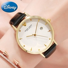 Mickey Mouse Women Big Style Luxury Disney  Quartz Watch Ladies Fashion Trendy Leather Band Waterproof Calendar Lady Clock Femme
