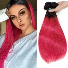 SEXAY пучки человеческих волос Ombre 3/4 шт. T1B розовый темные корни Бразильский прямые волосы предварительно Цветной розового цвета Remy пряди человеческих волос Инструменты для завивки волос