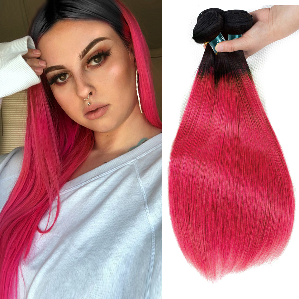 SEXAY Ombre Human Hair Bundles 3/4pcs T1B Pink Dark Roots Brazilian Straight Hair Pre-Colored Rose Pink Remy Human Hair Weaving