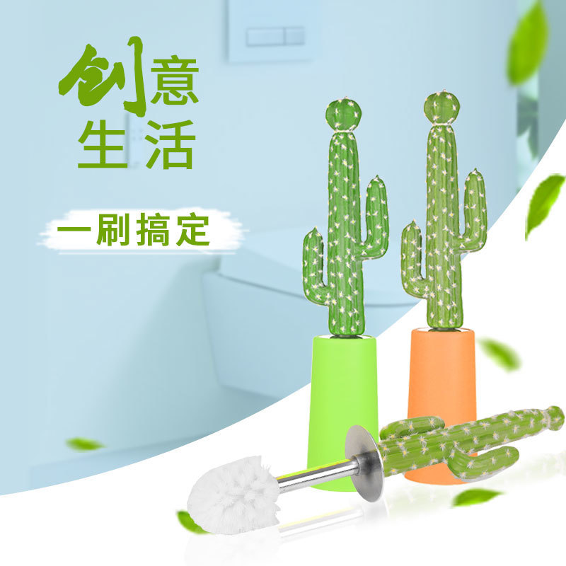 Creative Cactus Toilet Brush Set Cartoon Home Toilet Wash Toilet Brush Long Handle No Dead Corner Clean Brush Desert Gift CL0315