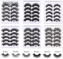 Pestañas postizas de pelo de visón, 1/5/10 pares, esponjosas/gruesas, pestañas largas, finas, naturales, maquillaje de belleza para los ojos, herramientas de pestañas de imitación