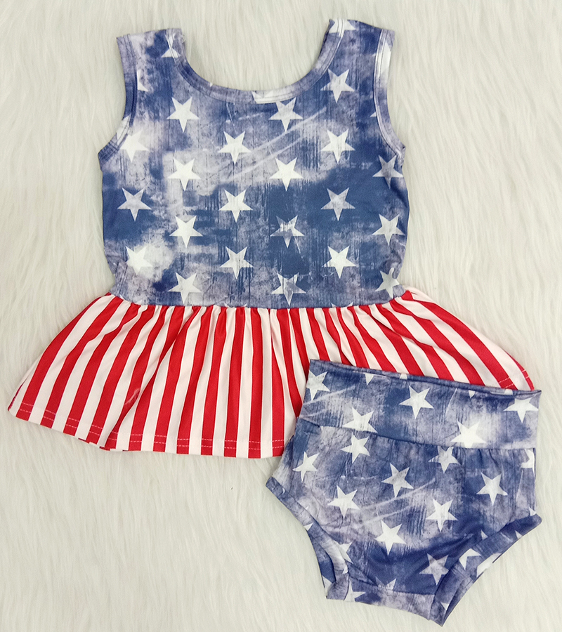 new arrival kids summer outfit baby girl and boys July 4th outfit children tank top match shorts set with star pattern