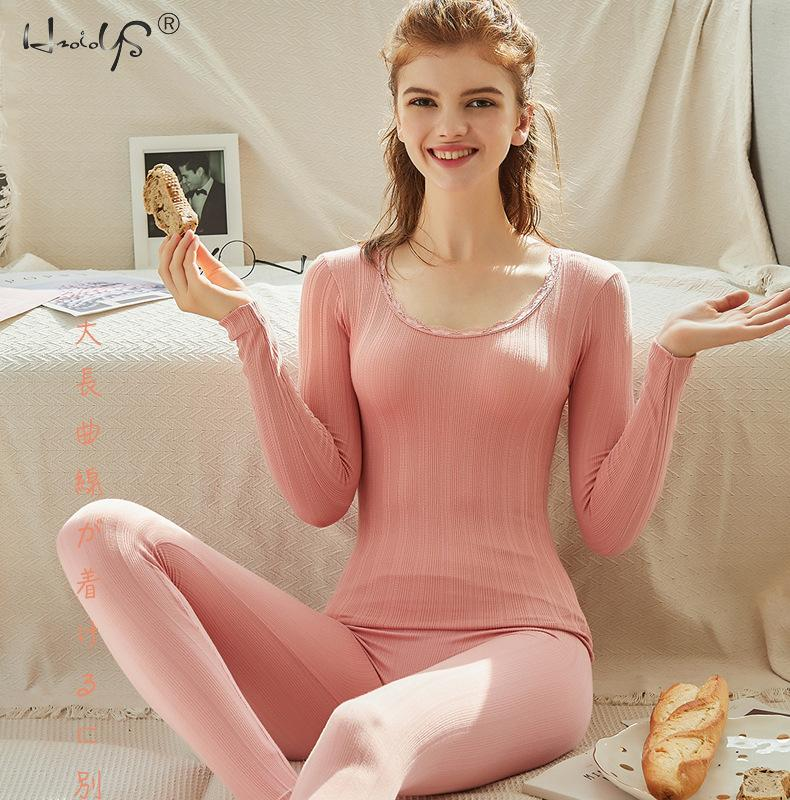 Women Thermal Underwear Set Top + Pants 2 Piece Set Winter Long Johns Second Skin Winter Female Thermal Clothing Thermal Shirt