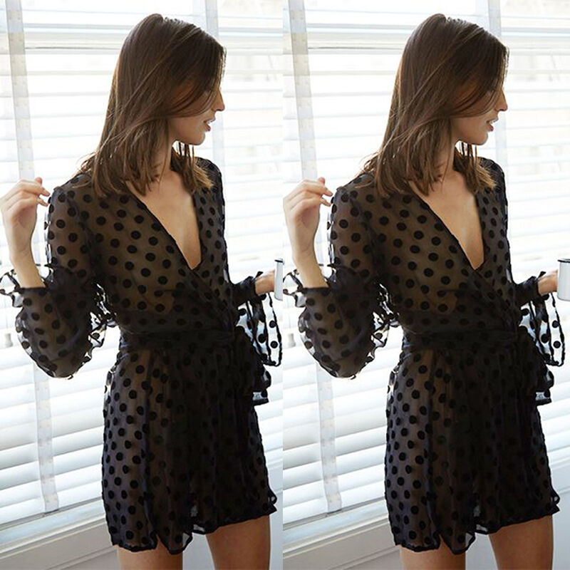 Sexy Women Beach Beachwear Blanket Lingerie Lace Beach Dress Solid Black Dot Print Transparent Women Beach Outwear