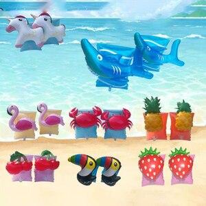 Flotador de seguridad para bebé, 1 par, para entrenamiento de sandía, ballena, dinosaurio, cangrejo, piscina, flotador circular para flotar en la piscina