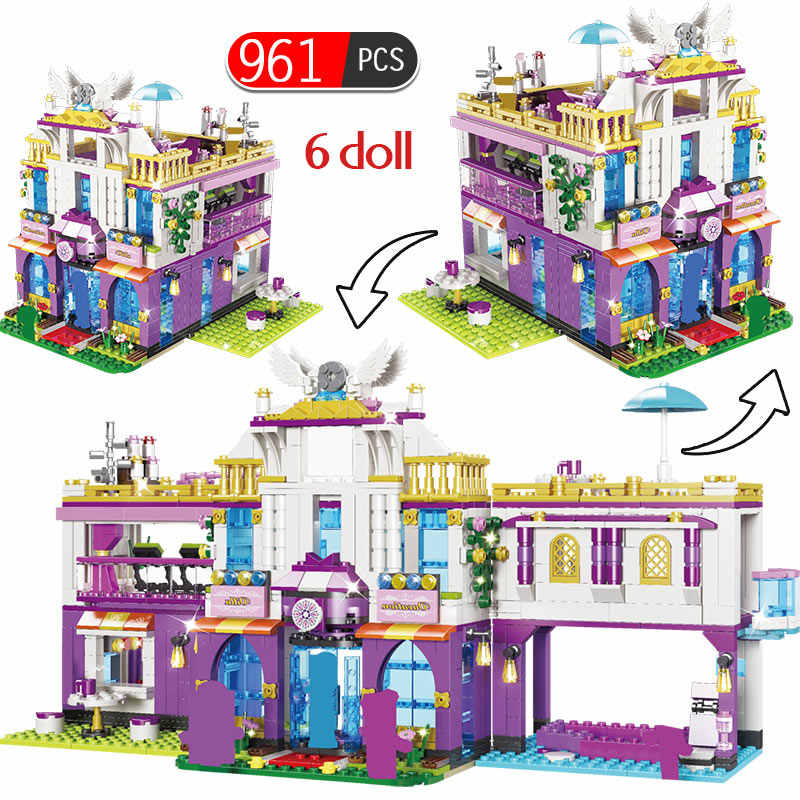 961 PCS Private Luxury Villa House Building Blocks legoed Friends Figures Bricks Kits Educational Toys for Girls