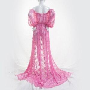 Image 5 - Vestidos de encaje de maternidad volantes abertura frontal vestido para fotografía Maxi fotografía de embarazada vestido Maxi de maternidad