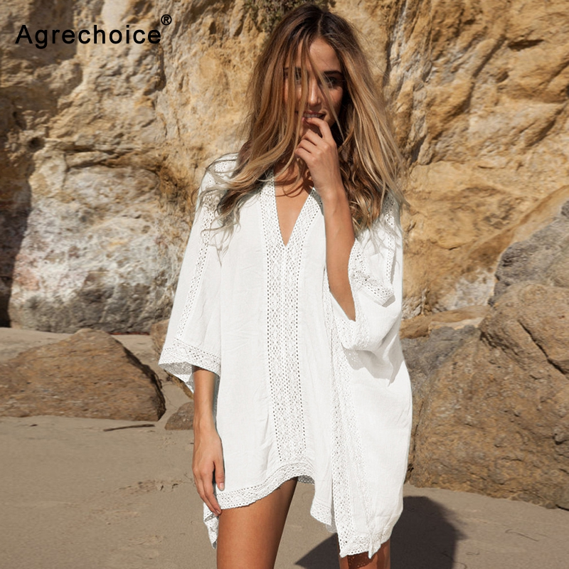 New Sexy Beach Cover Up Women Bikini Swimsuit Cover Up Loose Beach Dress Ladies Crochet Hollow Out Tunics Bathing Suit Cover-Ups