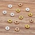 Плоские бусины с ромашками, 6 мм, золотистые/Серебристые бусины с отверстием 2 мм, аксессуары для самостоятельного изготовления бижутерии, 100...