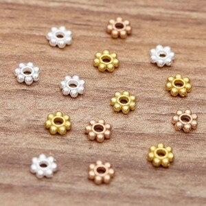 100 pçs/lote margarida flor espaçadores 6mm plana grânulo kc ouro prata 2mm buraco contas acessórios para diy jóias fazendo contas descobertas