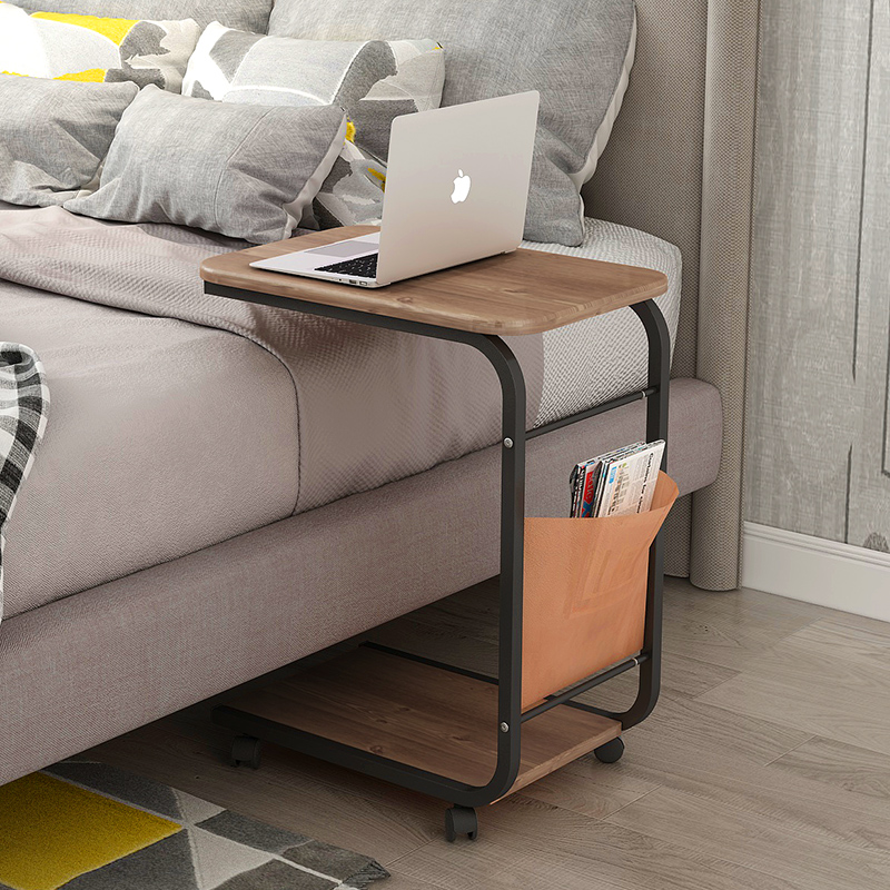 storage bed side sofa table with wheels movable desk wood iron coffee tables for living room side tables furniture free shipping