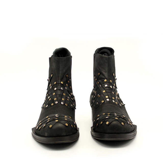 good texture ever popular on feet at 2020 Winter High Top Ankle Boots Men Beading Riveted Strip Patched ...