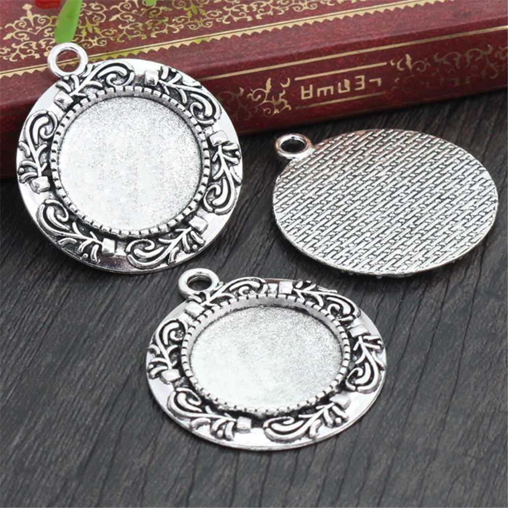 5pcs 20mm Inner Size Antique Silver Plated Classic Style Cabochon Base Setting Charms Pendant (D2-41)