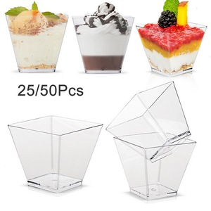 Disposable Plastic Cups Transparent Trapezoidal Food Container Appetizers Serving Cups for Jelly Yogurt Mousses Dessert Baking