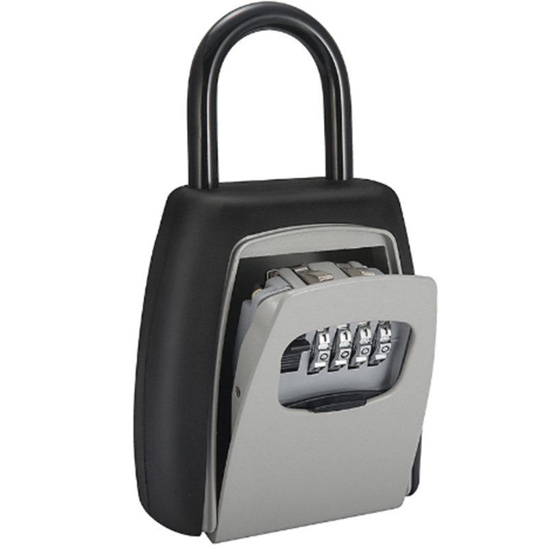 MOOL Password Key Box Grey Four-Digit Password Lock Padlock Type Free Installation Padlock Key Lock Box Key Storage Lock Box