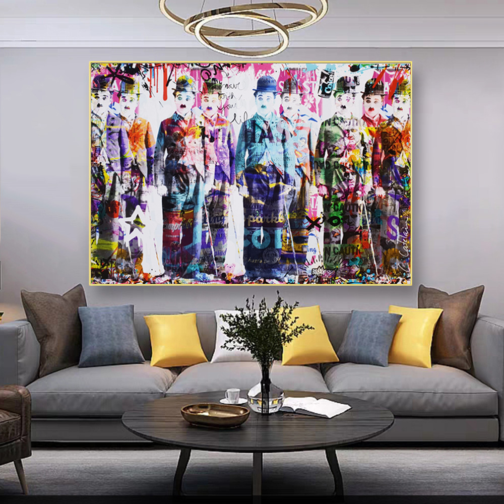 Chaplin Story Abstract Graffiti Contemporary Art Modern Painting Canvas Prints And Posters Picture Home Goods Wall Decor Cuadros