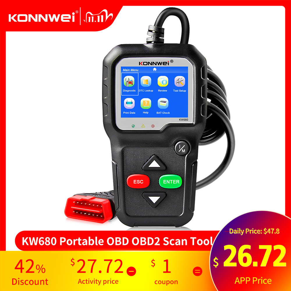 OBD2 Scanner OBD 2 Car Diagnostic Auto Diagnostic Tool KONNWEI KW680S Russian Language Car Scanner Tools Diagnostic Scanner
