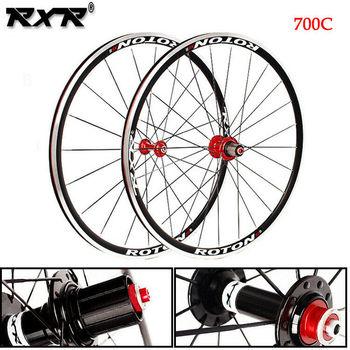RXR الطريق الدراجة 700C العجلات 7-11 سرعة عجلات من سبائك الألومنيوم الخامس الفرامل الفاصلة الجبهة الخلفية العجلات صالح 7-11 S كاسيت