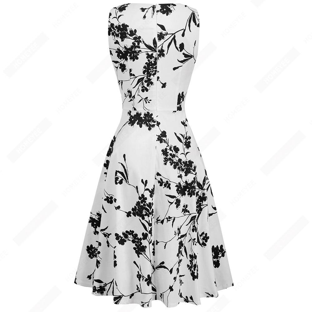Summer Women Vintage Black Floral Print Sleeveless Swing A-line Elegant Lady O-Neck Knee-Length Dress EA099 2