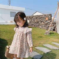 Vestidos florales de moda para niñas pequeñas, vestido de princesa de manga larga holgado de algodón 2020