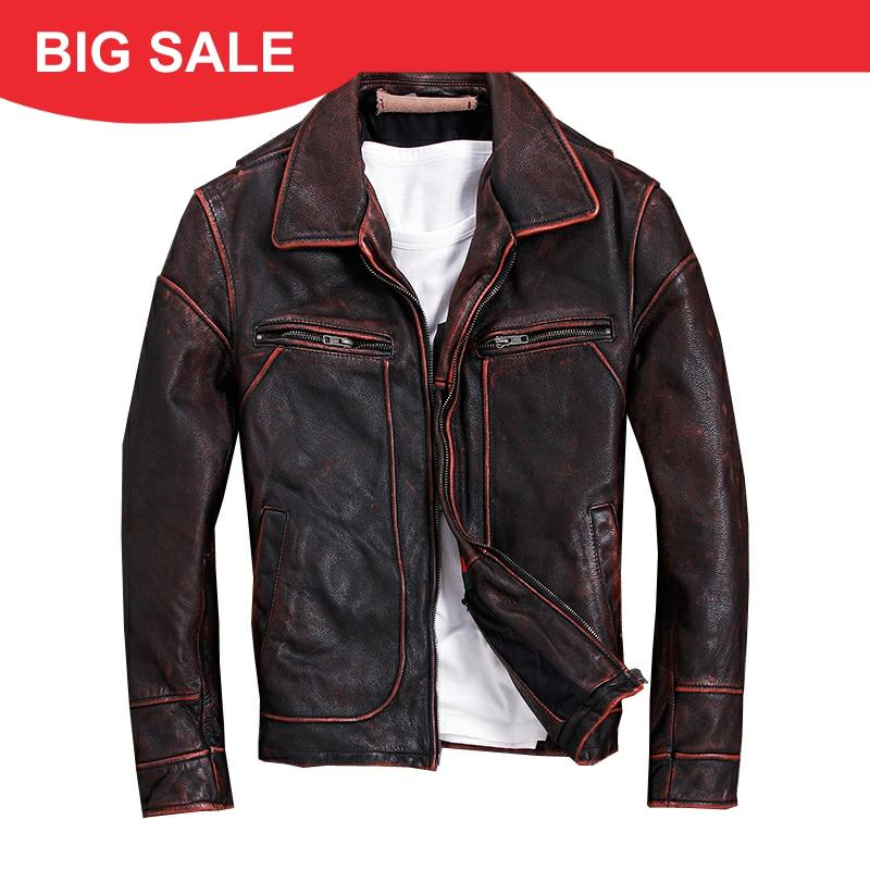 2020 Vintage Red Brown Men American Casual Style Leather Jacket Plus Size 5XL Genuine Cowhide Autumn Leather Coat FREE SHIPPING