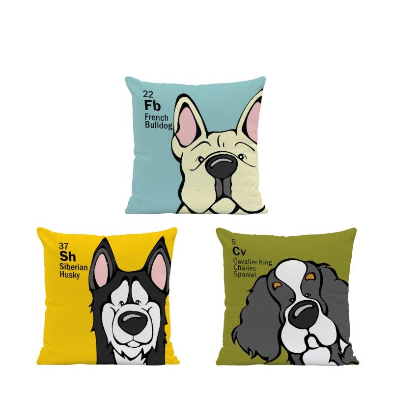 Cute Cartoon Animal Pillowcase Bulldog Husky Chihuahua Sofa Decoration Cushion Cover Schnauzer Australian Shepherd Dog Pillow