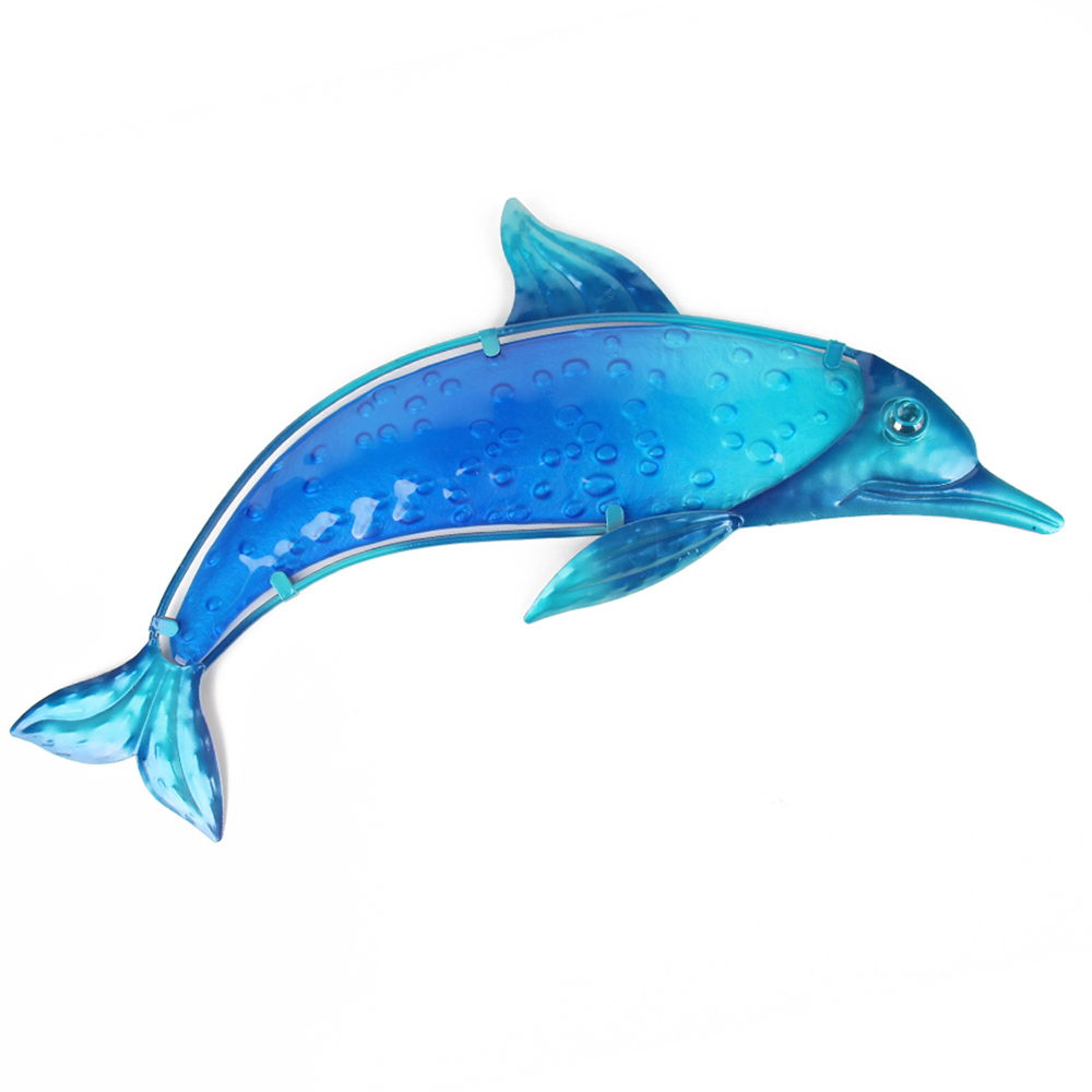 Metal Blue Dolphin Wall Artwork for Garden Decoration Miniature Ornaments Outdoor Statues and Accessories Sculptures