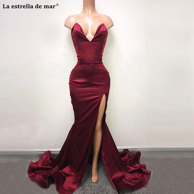 Vestidos de fiesta de graduacion largo new satin high fork Burgundy sexy mermaid african   prom     dresses   high quality balo elbise