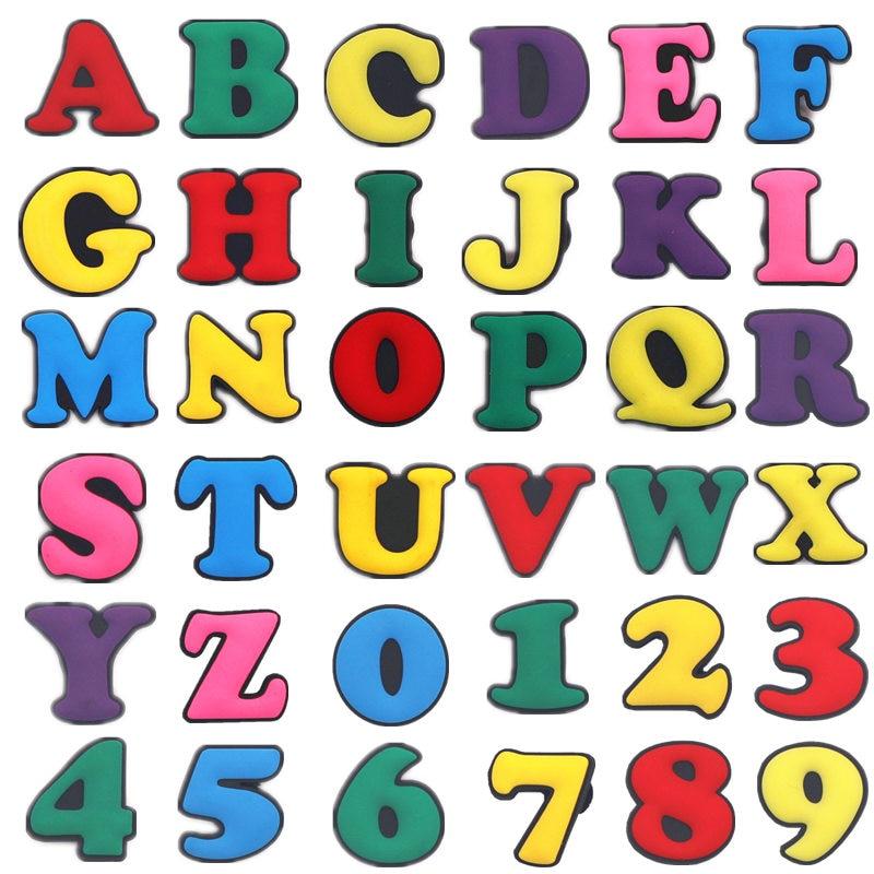 Single Sale 1pcs Capital Letters PVC Shoe Charms Decoration Colorful Garden Shoe Accessories For Croc Jibz Kids Party X-mas Gift