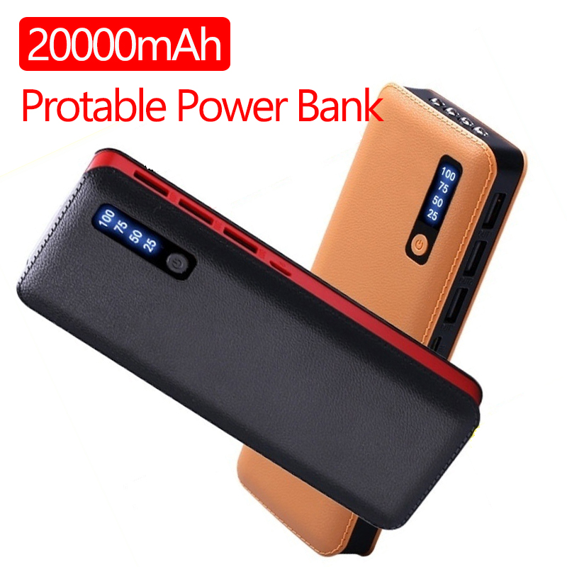 20000 MAh Portable Power Bank for Xiaomi All Smart Phone Battery Powerbank Fast Charging External Battery 3 USB LED image