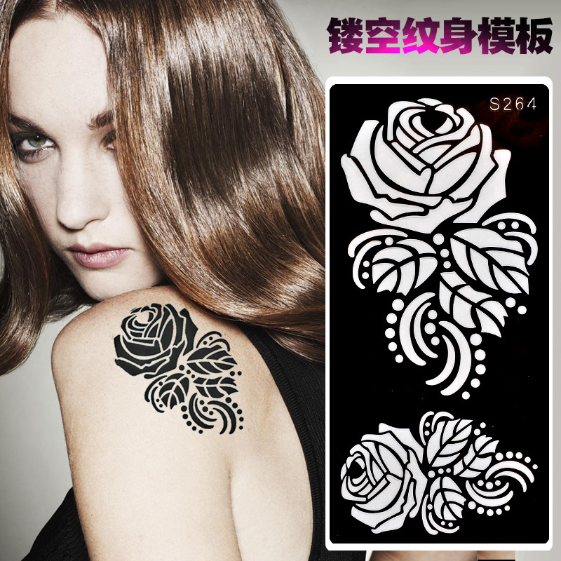 Cross Border Specifically For Foreign Trade Hot Sales Spray-print Tattoo Template Body Painting Hollow Out Tattoo PVC Hollow Out