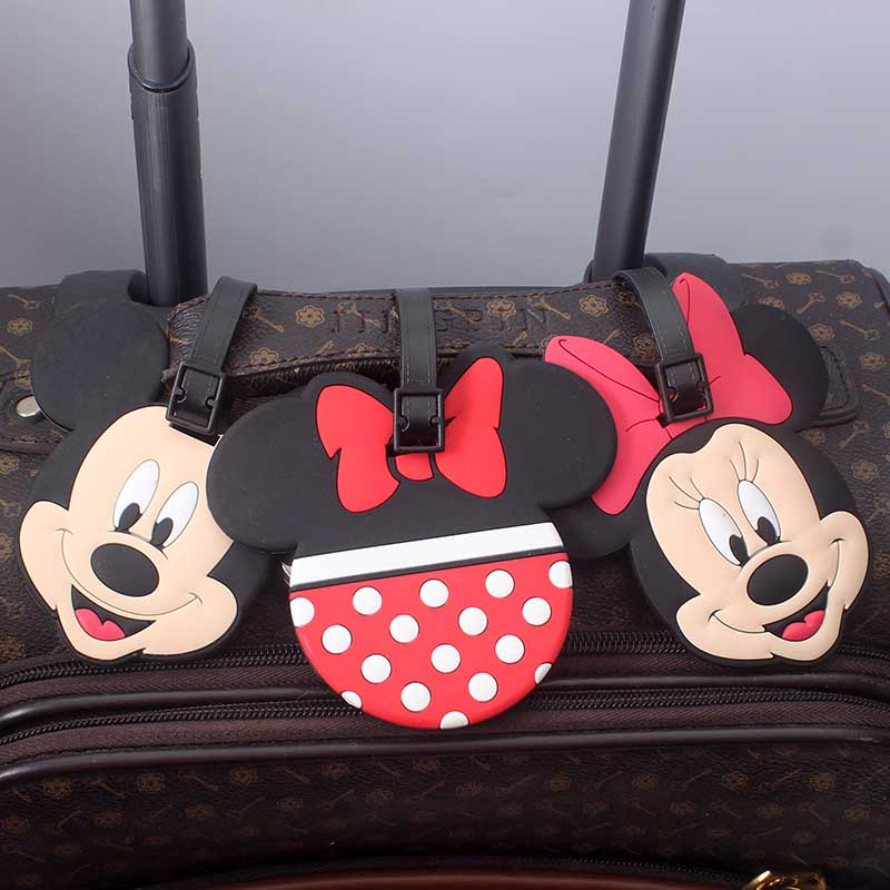 Cartoon Mickey Minnie Luggage Travel Accessories Tag Silica Gel Suitcase ID Addres Holder Baggage Boarding Tag Portable Label