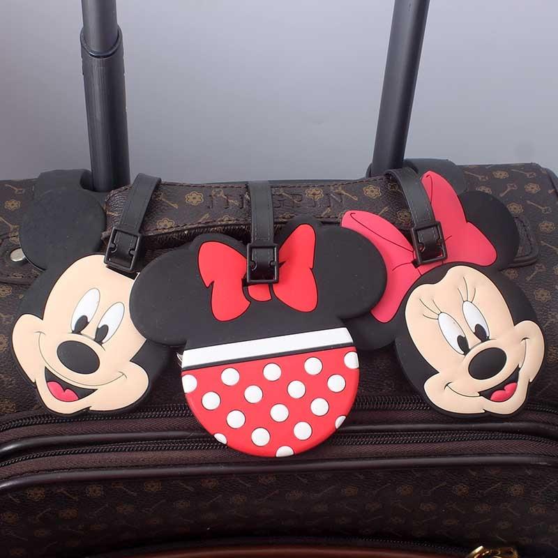 Cartoon Mickey Minnie Luggage Travel Accessories Tag Silica Gel Suitcase ID Addres Holder Baggage Boarding Tag Portable Label