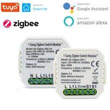 Tuya inteligente zigbee switch módulo 1/2 gang com/sem neutro 1 maneira de controle sem fio funciona com zigbee hub alexa casa do google 220-240v
