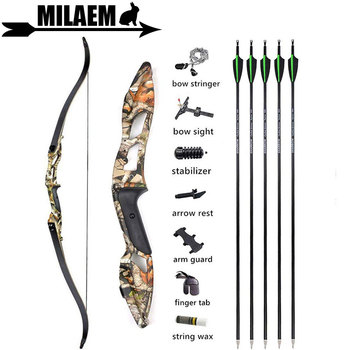 56inch 30-50lbs Archery Takedown Recurve Bow And Arrows Set With 5pcs Carbon Arrows Bow Sight Hunting Shooting Accessories