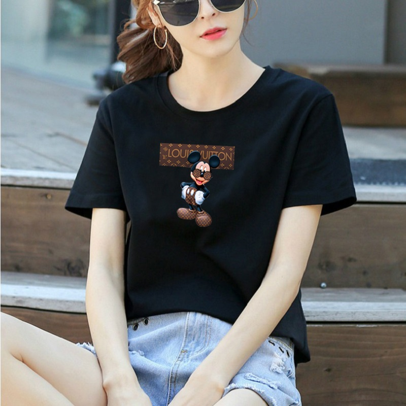 DISNEY women t-shirt Mickey short-sleeved T-shirt women's summer 2020 new slim body femme t-shirts Mickey Mouse top 6 color