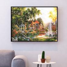 Huacan Kruissteek Huis Landschap Handwerken Sets Borduren Dorp Landschap Kits Wit Canvas Diy Home Decor 14CT 40x50cm