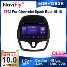 Autoradio QLED Android 10, 6 go/128 go, 4G LTE, DVD, Navigation GPS, BT, lecteur multimédia stéréo pour voiture CHEVROLET Spark Beat (2015, 2016, 2017)