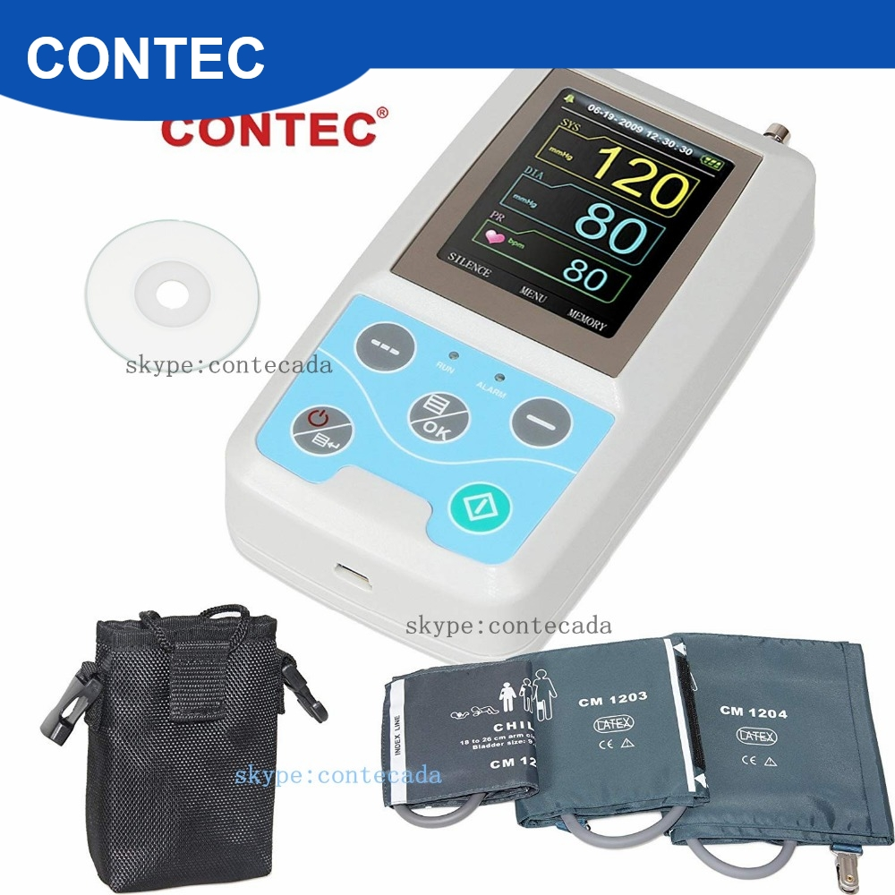 FDA Braço 24 horas NIBP Ambulatorial Da Pressão Arterial Monitor Holter CONTEC ABPM50 + Adulto, Criança, Grande, punhos 3, PC Software Livre